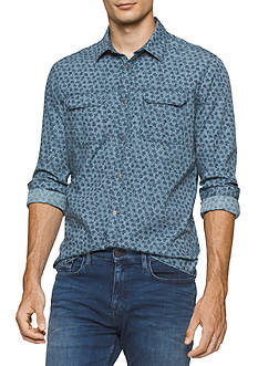 Calvin Klein Jeans Long Sleeve Oiled Rose Print Button Down Shirt