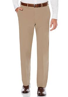 Men's Savane Active Flex Waistband Diamond-Textured Flat Front Dress Pants
