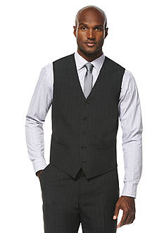 Savane® Travel Intelligence Classic Fit Charcoal Shadow Plaid Suit Separate Vest