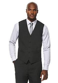 Savane Travel Intelligence Classic Fit Charcoal Shadow Plaid Suit Separate Vest