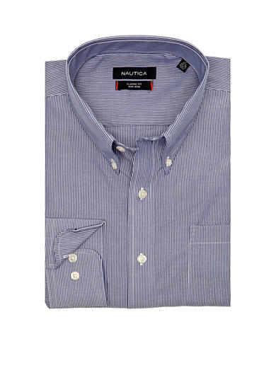 Nautica Big & Tall Poplin Stripe Dress Shirt