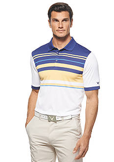 Callaway® Golf Performance Striped Chest-Blocked Short Sleeve Polo