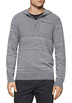 Calvin Klein Quarter Zip Hooded Mixed Gauge Sweater