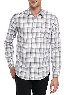 Calvin Klein Long Sleeve Large Herringbone Plaid Button Down Shirt