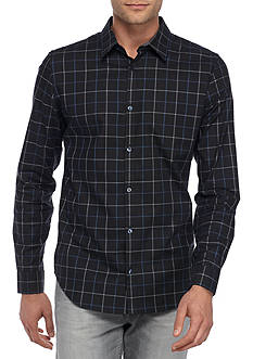 Calvin Klein Long Sleeve Herringbone Windowpane Plaid Button Down Shirt