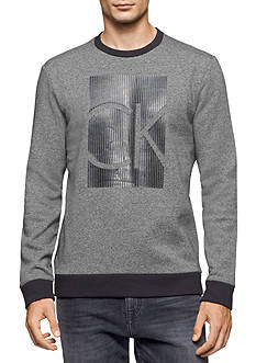 Calvin Klein Men's Long Sleeve CK Black Logo Fleece Shirt