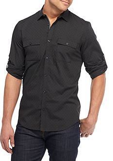 Calvin Klein Long Sleeve Roll Tab Dob Tonal Print Woven Shirt