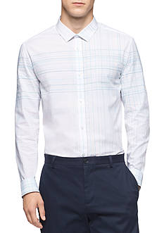 Calvin Klein Men's Long Sleeve Linear Engineered Plaid Shirt
