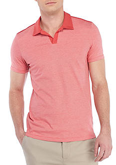 Calvin Klein Short Sleeve Liquid Jersey Yarn Dye Polo With Solid Collar