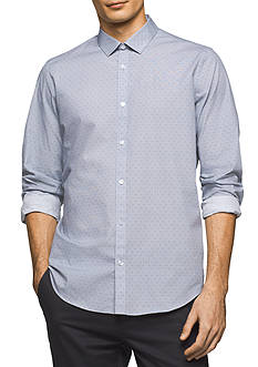 Calvin Klein Long Sleeve Micro Square Print Shirt