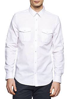 Calvin Klein Long Sleeve Solid Linen Cotton Roll-Up Shirt