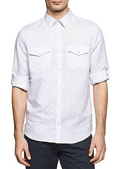 Calvin Klein Long Sleeve Linen Print Shirt