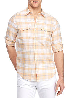 Calvin Klein Long Sleeve Linen Cotton Plaid Shirt