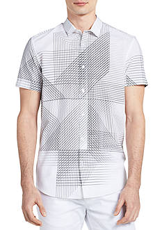 Calvin Klein Short Sleeve 3D Linear Print Shirt