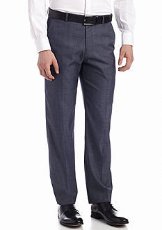 Calvin Klein Straight-Fit Flat-Front Heathered Dress Pants