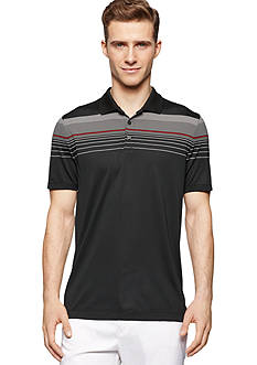 Calvin Klein Regular-Fit Short Sleeve Striped Jersey Polo Shirt