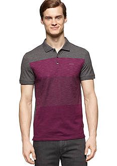 Calvin Klein Slim-Fit Short Sleeve Striped Polo Shirt