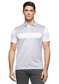 Calvin Klein Short Sleeve Solid Jersey Mix Media Stripe Polo Shirt