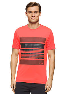 Calvin Klein Bold Chest Reflective Stripe Print Mesh Blocked T-Shirt