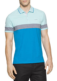 Calvin Klein Liquid Cotton Short Sleeve Slub Jersey Color Blocked Polo Shirt