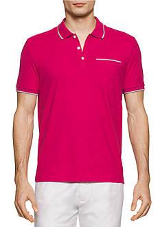 Calvin Klein Liquid Cotton Short Sleeve Solid Slub Tipped Polo Shirt