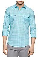 Calvin Klein Long Sleeve Two Pocket Heather Check