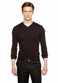 Calvin Klein Long Sleeve Ribbed Knit V Neck