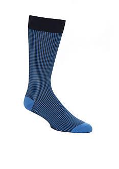 Tallia Orange Houndstooth Dress Socks- Single Pair