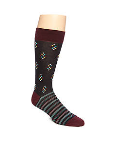 Tallia Orange Dot Neat Striped Foot Crew Socks - Single Pair