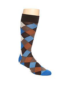 Tallia Orange Diamond Plaid Crew Socks - Single Pair