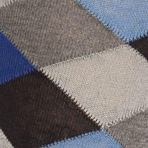 Mens Casual Socks: Blue/Navy Tallia Orange Diamond Plaid Crew Socks - Single Pair