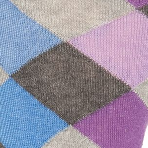 Mens Casual Socks: Lavender Tallia Orange Diamond Plaid Crew Socks - Single Pair
