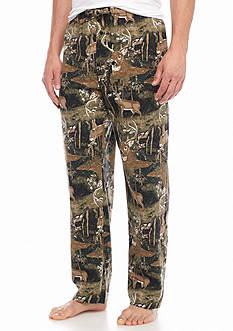 Saddlebred® Deer Printed Flannel Lounge Pants