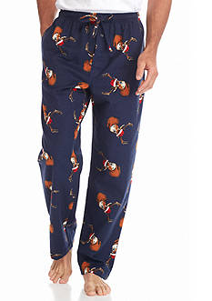 Saddlebred Santa Deer Printed Flannel Lounge Pants
