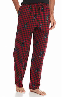 Saddlebred® Black Lab Printed Buffalo Plaid Flannel Lounge Pants