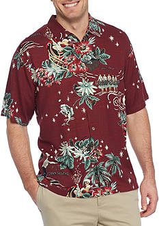 Tommy Bahama Big & Tall Merry Kitchmas Short Sleeve Button Down Shirt