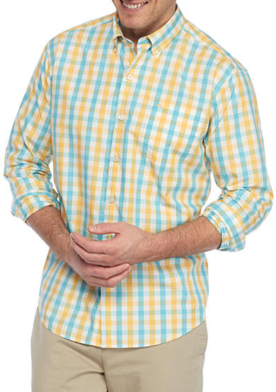 Tommy bahama big tall long sleeve tudo check button down for Tall button down shirts