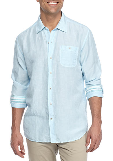 Tommy bahama sand linen check long sleeve button down for Tommy bahama long sleeve dress shirts