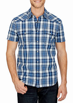 Lucky Brand Short Sleeve Santa Fe Western Plaid Woven Shirt