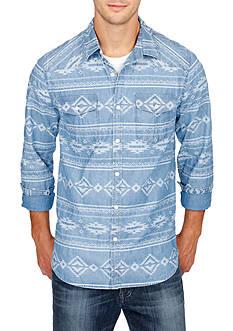 Lucky Brand Long Sleeve Indigo Jacquard Western Shirt