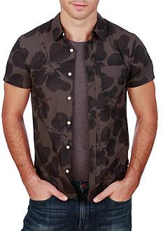 Lucky Brand Short Sleeve Hibiscus Ballona Shirt
