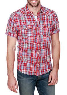 Lucky Brand Short Sleeve Patchwork San Bedu Western Shirt