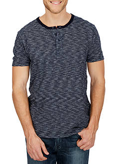 Lucky Brand Short Sleeve Vintage Wash Stripe Henley Shirt