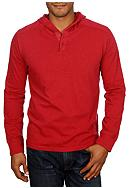 Lucky Brand Two-Button Hooded Henley Shirt