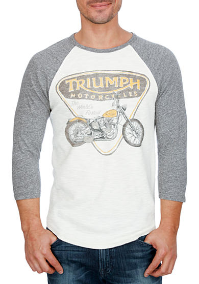 Lucky Brand Raglan Triumph Badge & Bike Graphic Tee