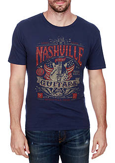 Lucky Brand Short Sleeve Nashville Guitar Flag Graphic Tee