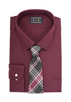 Alexander Julian Big & Tall Boxed Dress Shirt and Hand Made Tie Set