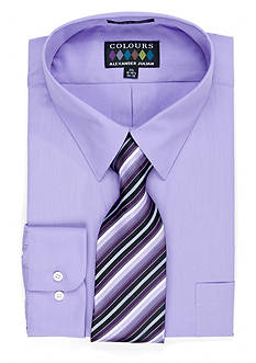 Alexander Julian Big & Tall Boxed Dress Shirt & Tie Set