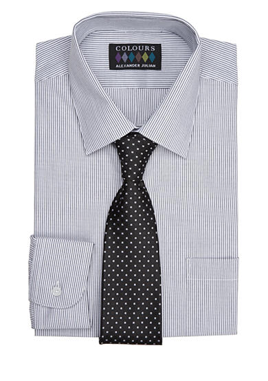 Alexander Julian Regular-Fit Boxed Dress Shirt And Tie Set