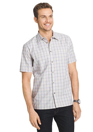 Van heusen plaid traveler short sleeve woven shirt for Van heusen plaid shirts